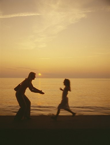 A girl running into the arms of her mother by the sea at sunset 5x7 photo reprint Sea Arm Vii Set