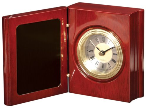 """Personalized 4 1/4"""" Rosewood Piano Finish Book Clock - BRAND NEW"""