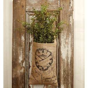 Vintage Hanging Burlap Bag - French Clock & Script (8-in x 12-in)