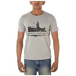Chennai Gaga Men's Round Neck Cotton T-shirt Madras Central 112-3-802-Greymelange-S