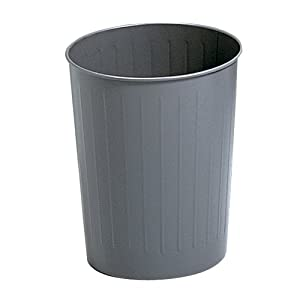 Safco Products Round Fire Safe Steel Wastebasket, 23-1/2 Quart, Charcoal, 9604CH