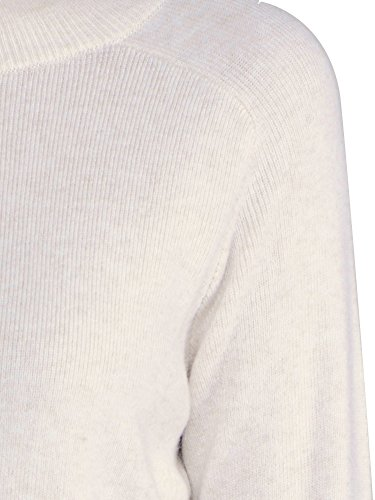 Knit&love Women's Classic Mock-neck Long Sleeve Pullover Knit Sweater (M, White)