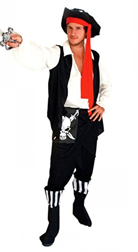 Treasure-box Mens Black and White Skull Pirate Costume Halloween