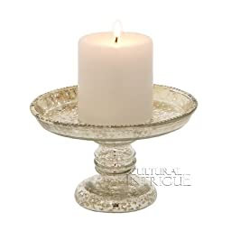 Silver Mercury Glass Candle Stand (classic design)
