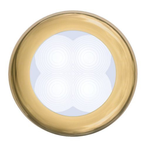 Hella 980501031 '0501 Series' Slim Line White 24V Dc Round Soft Led Courtesy Light With Gold Stainless Steel Rim