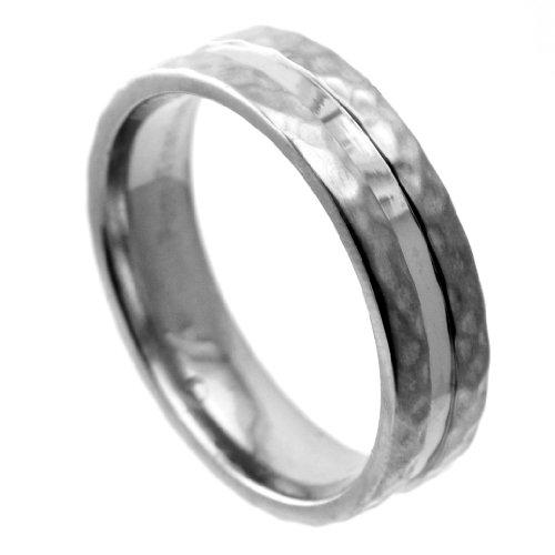Hammered Finish Bands: Titanium Wedding Band Ring With Brushed Hammered Finish