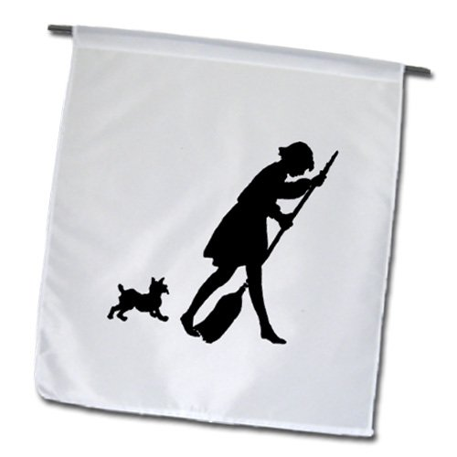 Florene Black And White - Cute Silhouette Of doggie Chasing Lady With Broom - 18 x 27 inch Garden Flag (fl_109467_2)