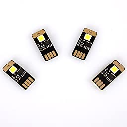 Yitee 4pcs USB Light Keychain Single Super Bright SMD LED Mini USB Light Lamp with Smart Touch Electrodeless Dimming Switch For Laptop Keyboard Light, Any USB Power Light Qty:4