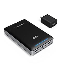RAVPower Portable Charger Deluxe 16000mAh External Battery Pack Power Bank with iSmart Technology (Dual USB, 5V / 4.5A, FREE 2A Adapter, multiple-level protection)