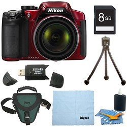 Nikon COOLPIX P520 18.1 MP Digital Camera with 42x Zoom (Red) Deluxe Bundle With 8GB SDHC card , Digpro case , cleaning kit and more