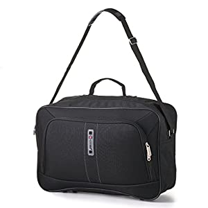 5 Cities Hand Luggage Lightweight Cabin Size Flight Carry-On Bag for Ryanair and Easyjet Hand Luggage, Black