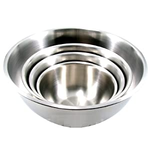 (Set of 4) LARGE Stainless Steel Mixing Bowls Standard Weight *Mirror Finish13, 16, 20,... by ChefLand