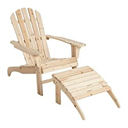 Cedar/Fir Adirondack Chair with Ottoman, Model# CS-001KD-O [Lawn & Patio]
