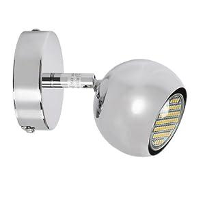 Modern Single Eyeball Ceiling/Wall LED Spotlight in Chrome Finish -Complete with SMD LED 3W GU10 Bulb