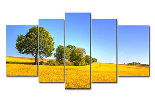 Yellow Orange 5 Piece Wall Art Painting Yellow Rapeseed Field Trees Prints On Canvas The Picture Landscape Pictures Oil For Home Modern Decoration Print Decor For Bedroom