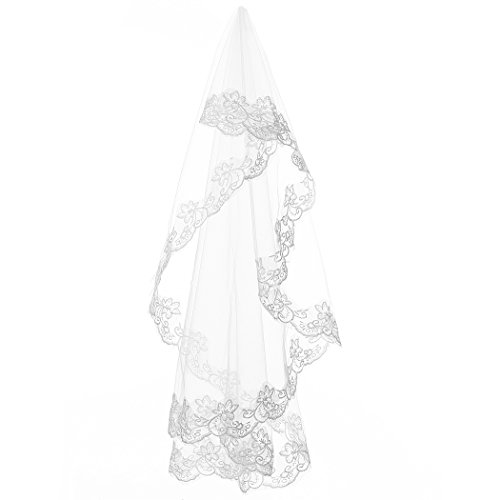 Ok Dress Long Lace Bridal Veils Applique Wedding Veil (White)