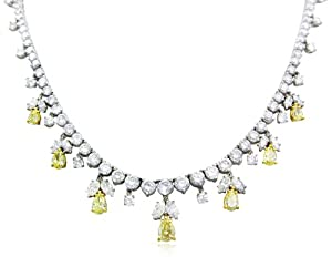 Canary & White Diamond 18k White Gold Graduated Necklace