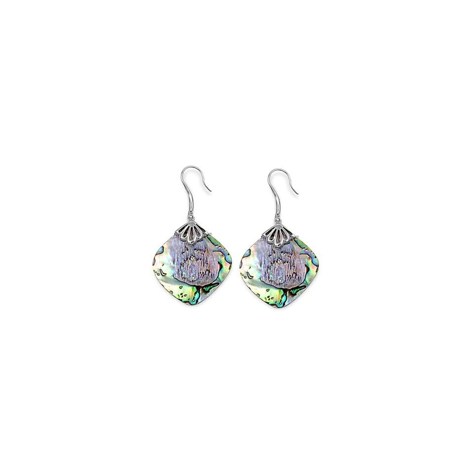 925 Sterling Silver Earrings With Stone   Stone Abalone Royal Design Jewelry
