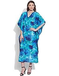 Very Me Women's Cotton Blue Printed Kaftan