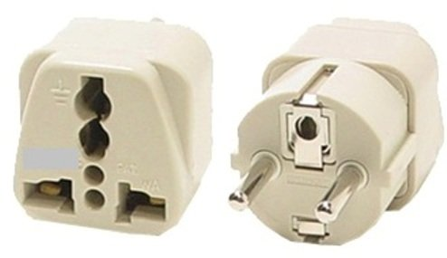 VCT VP-109 Universal Travel Grounded Plug Adapter For Germany, Spain, Netherlands, Russia Amsterdam Island