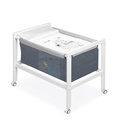 Pirulos 20013510–Minicuna quadrata, motivo: Be Happy, 61x 90x 80cm, colore: bianco/grigio