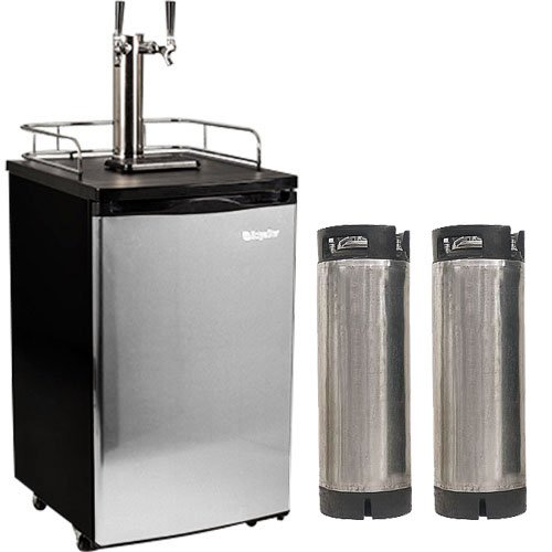 Learn More About Edgestar Ultra Low Temp Home Brew Dual Tap Kegerator with Kegs - Black and Stainles...