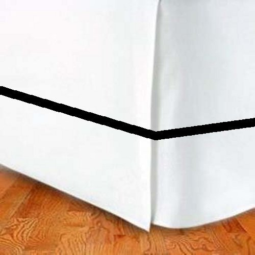 300Tc Cotton King Bed Skirt Solid White With Black Stripe front-1023125