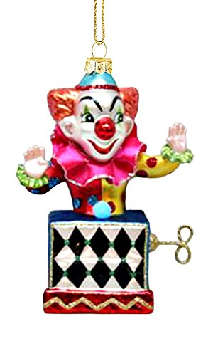 Jack In The Box Hanging Glass Christmas Ornament (Scary Clown Jack In The Box compare prices)