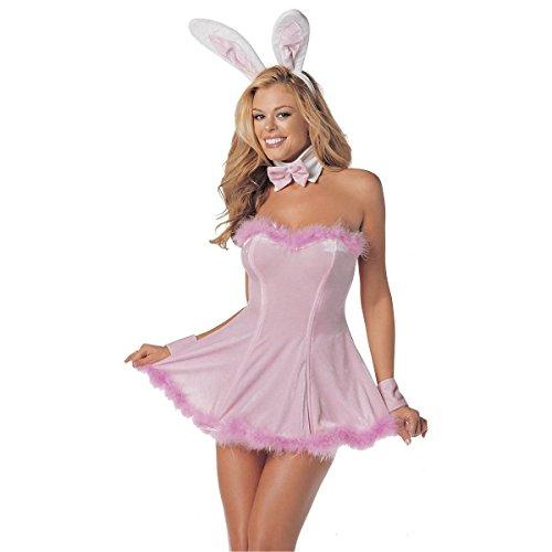 [GSG Precious Pink Bunny Costume Adult Halloween Fancy Dress] (Zombie Bunny Halloween Costume)