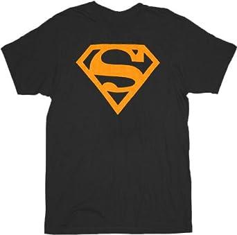 Superman Neon ORANGE Logo Black Mens T-shirt Tee (Adult Large)