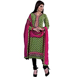 Decent Green & Black Coloured Embroidered Dress Material