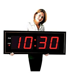 Large Digital LED Clock - Giant 8 Numeral Red LED Wall Clock With Remote Control