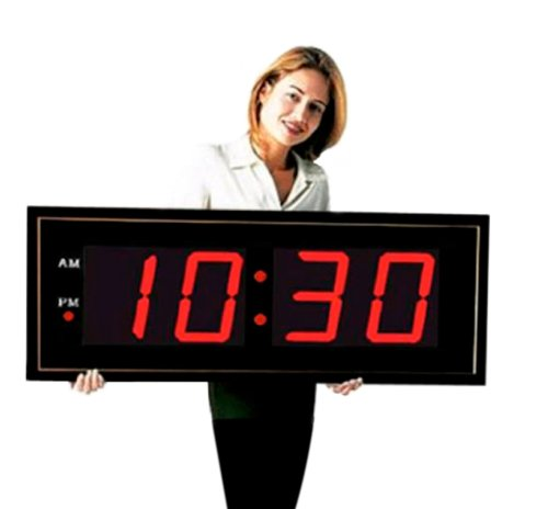 "Large Digital Led Clock - Giant 8"" Numeral Red Led Wall Clock With Remote Control"