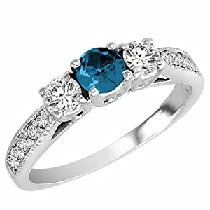 Ryan Jonathan Platinum 3 Stone Blue Diamond and White Diamond Engagement Ring With Milgrain Pave Set Shank (1 cttw) - Size 7