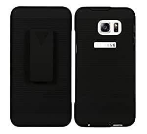 Galaxy S6 Edge+ Holster, Ribbed Shell Two Part Armor Holster Combo Front Back Case Cover For Samsung Galaxy S6 Edge+ - Jet Black