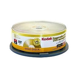 Kodak 51125 DVD-R 4.7GB 24K Gold Layered Branded 25/Spindle