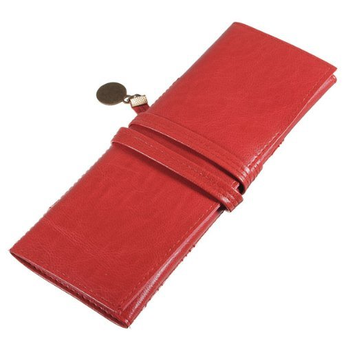 Red Vintage Style Rollup Pencil Case, Pencil Bag, Pen Pocket - PU Leather