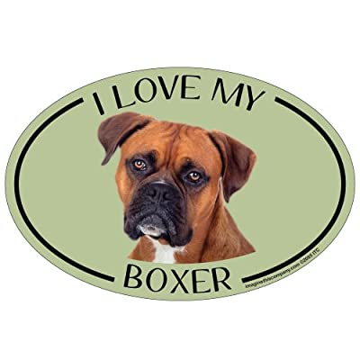 Imagine This Oval Magnet, I Love My Boxer