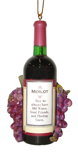 Vintage Tuscan Winery Merlot Wine Bottle & Grapes Christmas Ornament