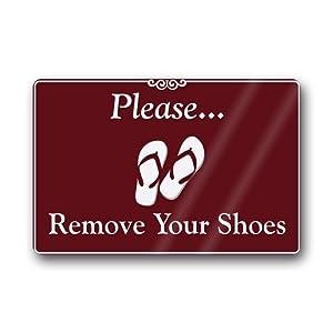 Novelty design custom please remove your shoes indoor outdoor doormat 18 by 30 inch - Remove shoes doormat ...