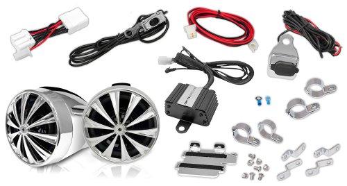 Lanzar Optimc90 Opti Drive 700 Watts Motorcycle/Atv/Snowmobile Mount 4Ch Amplifier W/Dual Handle-Bar Mount Aluminium Diecast Weatherproof Speakers W/Mp3/Ipod Input And Usb Charger