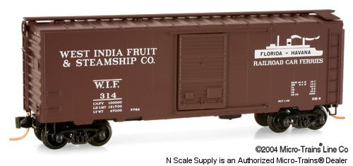 Micro Trains N 20370: 40' Standard Box Car, Single Door, West India Fruit & Steamship Company WIF#314