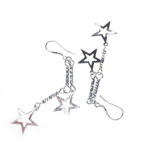 BestDealUSA Fashion Double Star Silver Earrings Eardrop Stylish Sterling Silver Ear Hook