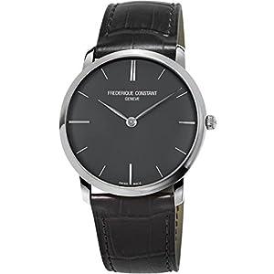 Frederique Constant Men's 39mm Black Leather Band Steel Case Sapphire Crystal Quartz Watch FC-200G5S36