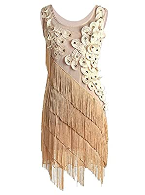 Vijiv Women's 1920s Beaded Fringe Irregular Hem Floral Flapper Art Deco Dress