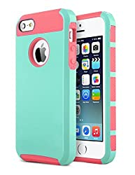 5S Case, iPhone 5S Case, iPhone 5 Case, ULAK Aqua Fashion Hybrid Case for iPhone 5 5S TPU + PC 2-Piece Style Soft Hard Cover with Free Screen Protector and Stylus (Blue+Water Red)