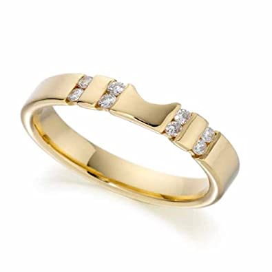 18ct Yellow Gold Diamond Wedding Ring Width 4mm