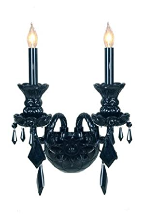 Black Crystal Wall Sconces : JET BLACK GOTHIC VENETIAN STYLE CRYSTAL WALL SCONCE LIGHTING! - Chandeliers - Amazon.com