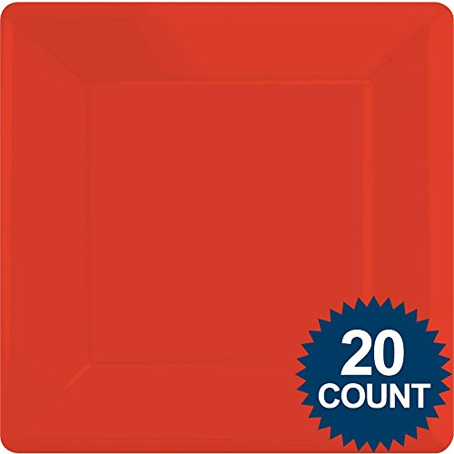 Red Party Supplies Square Dinner Paper Plates 24ct
