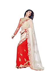 Anvi Creations Off White Orange Georgette Embroidered Saree (Off White_Free Size)